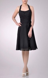 Knee-length Halter Square A-line Chiffon Bridesmaid Dress With Ruching