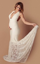 Jersey Lace Mermaid Sleeveless V-neck Maternity Wedding Dress