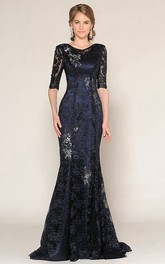 Mermaid Floor-Length Half-Sleeve Scoop-Neck Appliqued Lace Prom Dress