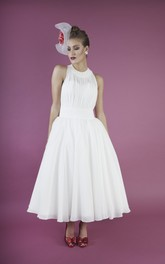 Chiffon Sleeveless A-line Vintage Jewelry Neckline Dress With Sash And Pleats