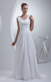Capped Sleeve Ruffled Cowl Neck Dress With Pleat and Waistband