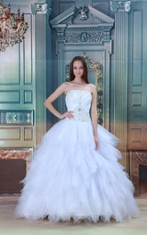 Charming Strapless Ball Gown Sleeveless Satin Wedding Dresses