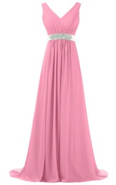 V-neck Pleated Chiffon A-line Gown With Beaded Band
