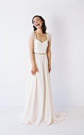 Lace Cap Sleeve V-Neck A-Line Chiffon Dress With Square Open Back