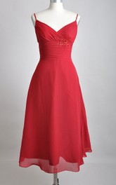Tea-length V-Neckline A-line Chiffon Bridesmaid Dress With Spaghette Straps