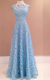 Gorgeous Blue Lace 2018 Evening Dress Sleeveless Floor Length