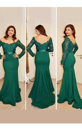 Mermaid Trumpet Satin Lace Off-the-shoulder Long Sleeve Zipper Low-V Back Dress