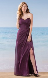 Sweetheart A-Line Floor-Length Bridesmaid Dress With Ruches And Front Slit