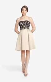 A-Line Satin Strapless Dress With Fitted Lace Bodice