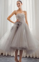 Sweetheart A-Line Lace Tea-Length Prom Dress