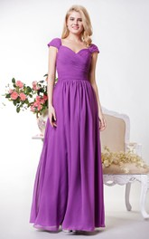 Demure Cap-sleeved A-line Chiffon Long Dress