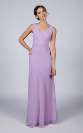 V Neck V Back A-line Chiffon Long Dress Lilac