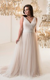 A-Line Floor-Length V-Neck Sleeveless Tulle Sweep Train Lace-Up Back Ruching Dress