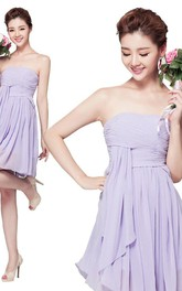 Chic Strapless Ruched Short Dress With Drapping