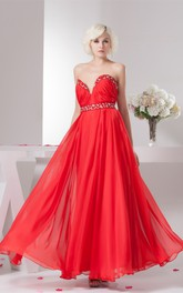 Chiffon Floor-Length Plunged Pleats and Gown With Beading