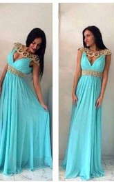Elegant Jewel Cap Sleeve Chiffon Prom Dress With Beadings