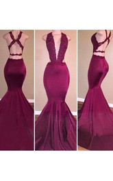 Mermaid Trumpet Satin Lace Halter Sleeveless Open Back Straps Dress