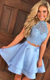 A-line Two Piece Sleeveless Satin Lace Halter Straps Keyhole Short Mini Homecoming Dress