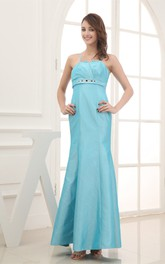 Spaghetti-Straps Ankle-Length Notched Dress With Jeweled Waist