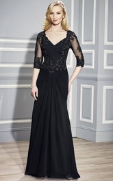 Ruched V-Neck Floor-Length Half-Sleeve Chiffon Formal Dress With Beading
