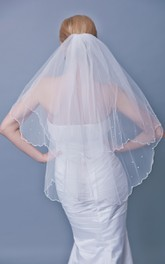 Two Tier Beaded Trim Mid Veil With Beadings