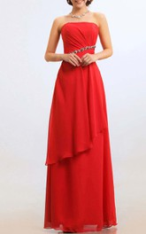 Floor-length Strapless Side-draped Empire Chiffon Bridesmaid Dress