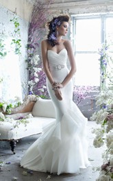 Enchanting Pleated Bodice Ruffle Dress With Crystal Beaded Belt
