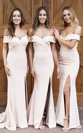 Sexy Cross Criss Elegant Off-the-shoulder Trumpt Bridesmaid Dress With Front Split