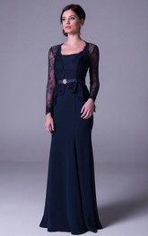 Sheath Long-Sleeve Long Lace Square-Neck Prom Dress With Broach