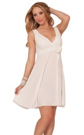 Sleeveless V-neck Chiffon Short Dress