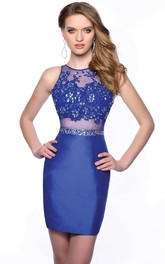 Satin Sleeveless Short Sheath Homecoming Dress With Jewel Neck