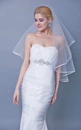 One Tier Satin Trim Mid Length Veil