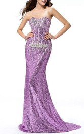 Sexy Mermaid Sweetheart Sequins Sweep train Prom Dress