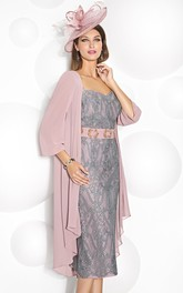 Tea-Length Appliqued 3-4 Sleeve Scoop Neck Chiffon Mother Of The Bride Dress
