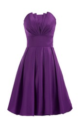 Strapless Empire A-line Mini Ruffled Satin Dress