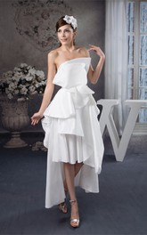Sleeveless Satin High-Low Gown With Draped Design