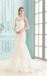 Bateau Sleeveless Floor-length Lace Illusion Back Mermaid Dress