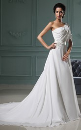 One-Shoulder Chiffon A-Line Dress With Ruching and Sating Sash