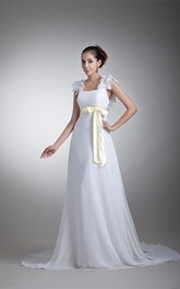 Chiffon Sheath Floor-Length Floral Straps and Dress With Ribbon