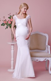 Cap-sleeved Empire Mermaid Satin Long Dress With Bows and Lace Bodice
