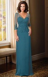 Sheath Appliqued Illusion-Sleeve V-Neck Floor-Length Chiffon Mother Of The Bride Dress With Waist Jewellery