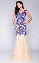 Mermaid Lace And Tulle Cap Sleeve Prom Dress With Illusion Design