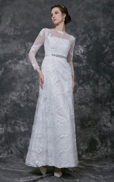 Sophisticated Full Sleeve Bateau Neck A-line Lace Gown With Beaded Belt