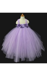 Allover Tulle Floral Bodice Empire Ball Gown With Beadings