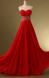 Sweetheart Beaded Ruches A-Line Lace-Up Floor-Length Prom Dress