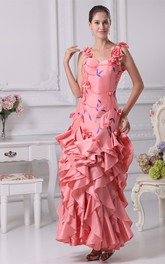Sleeveless Ankle-Length Embroidered Dress With Cascading Ruffles