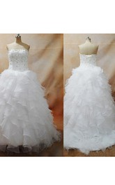 Elegant Organza Sexy Lace up Back Appliques Beaded Ruffles Floor Length Bridal Dress