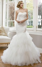 Mermaid Appliqued Strapless Tulle Wedding Dress With Ruching And Ruffles