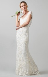 Sheath V-Neck Cap-Sleeve Lace Wedding Dress With Embroidery