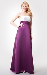 Strapless A-line Long Satin Dress With Ruching